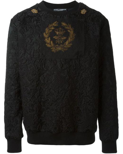Dolce & Gabbana | Мужское Чёрный Bee And Crown Embroidered Patch Sweatshirt