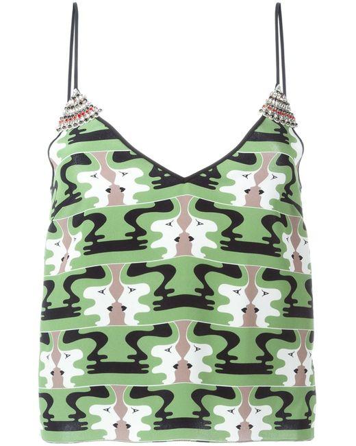Holly Fulton | Женское Зелёный Printed Embellished Cami Top