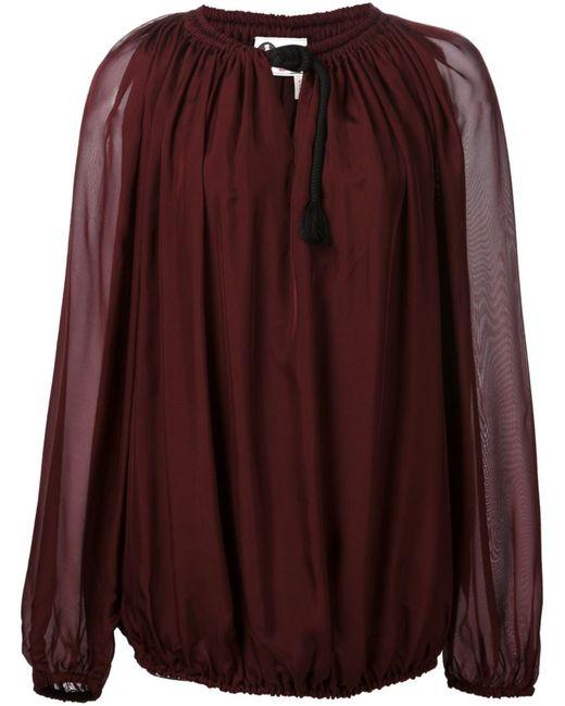 Lanvin   Женская Красная Прозрачная Блузка С Канатной Деталью