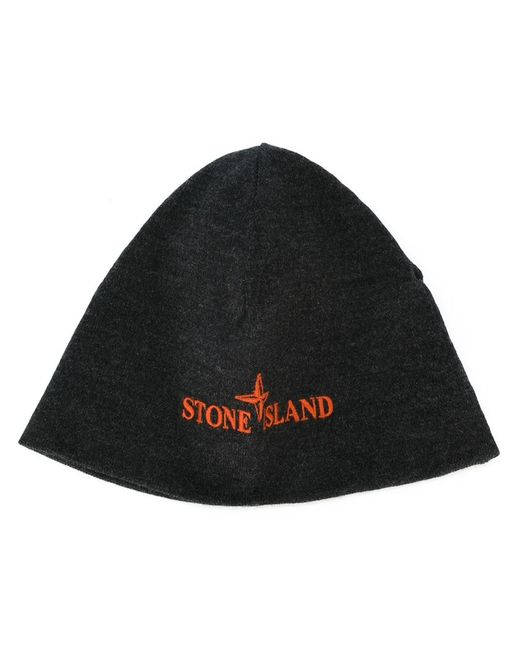 Stone Island | Мужская Серая Шапка С Вышитым Логотипом