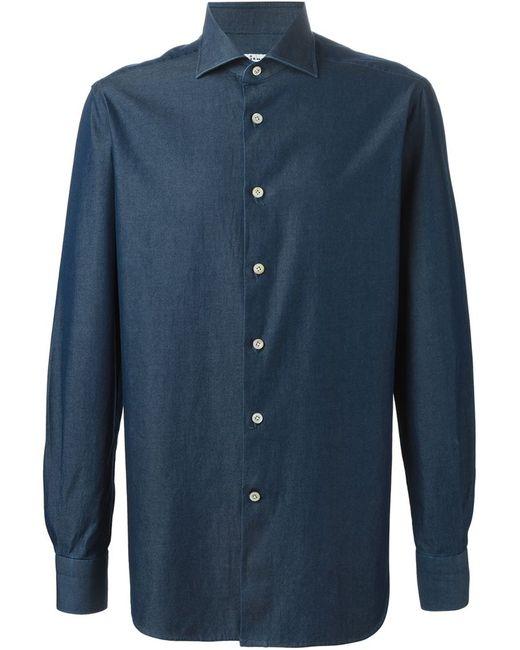 Kiton | Мужская Синяя Джинсовая Рубашка С Косым Воротником