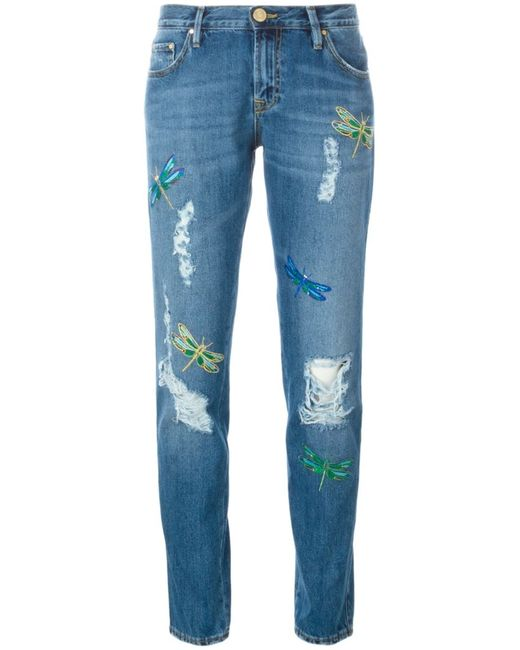 Don'T Cry | Женское Синий Distressed Embroidered Jeans