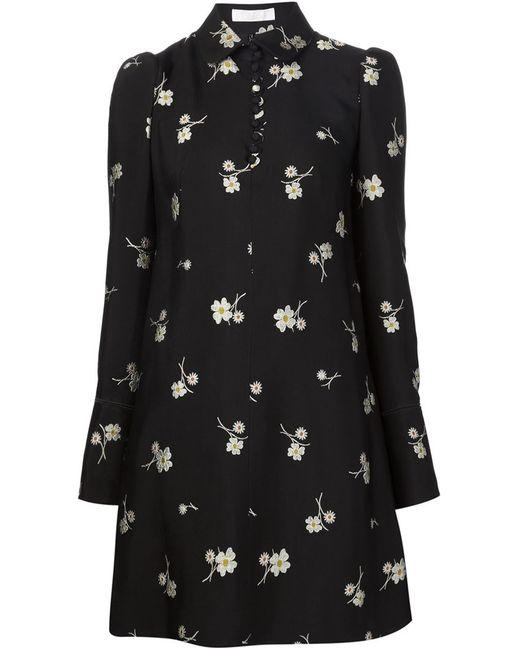 Chloe | Женское Чёрное Платье С Цветочной Вышивкой