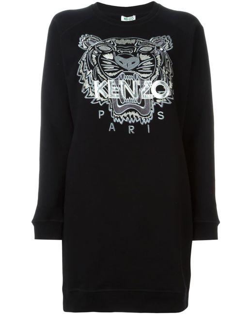Kenzo | Женское Чёрный Tiger Sweatshirt Dress