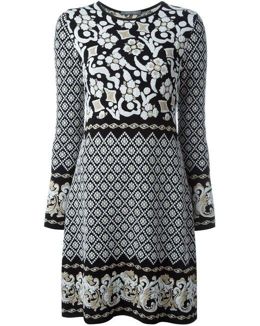 Alberta Ferretti | Женское Чёрное Платье С Узором В Стиле Барокко