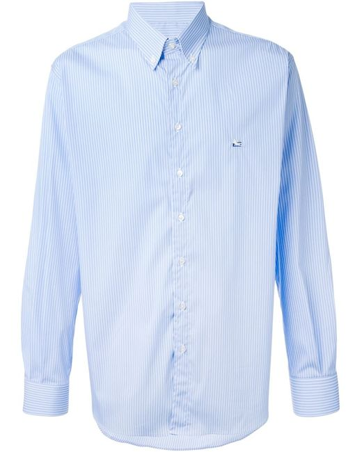 Etro | Мужская Синяя Полосатая Рубашка С Воротником На Пуговицах