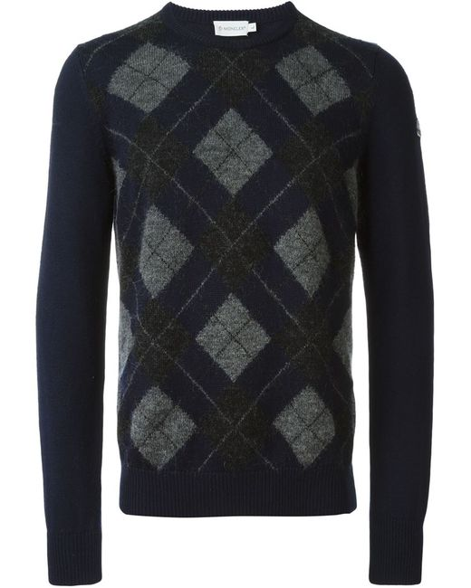 Moncler   Мужское Синий Argyle Patterned Intarsia Knit Sweater