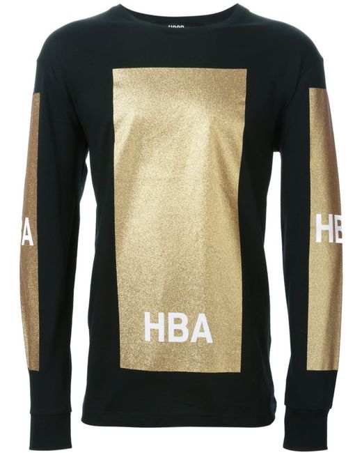 HOOD BY AIR | Мужское Чёрный Panelled Logo Long Sleeved T-Shirt