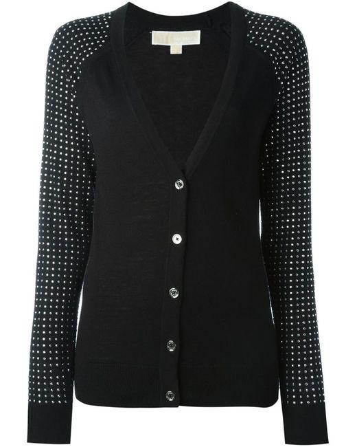 Michael Michael Kors | Женское Чёрный Embellished Sleeves V-Neck Cardigan