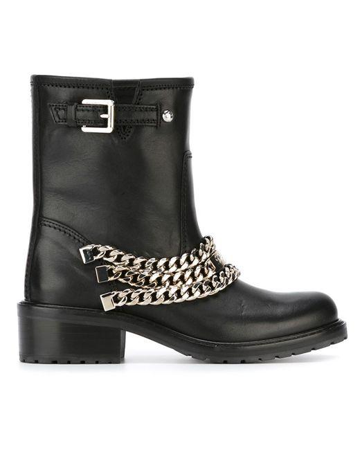 Dsquared2 | Женские Чёрные Байкерские Ботинки С Цепочными Деталями