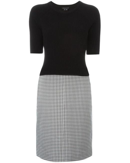Theory | Женское Чёрный Shortsleeved Contrast Dress
