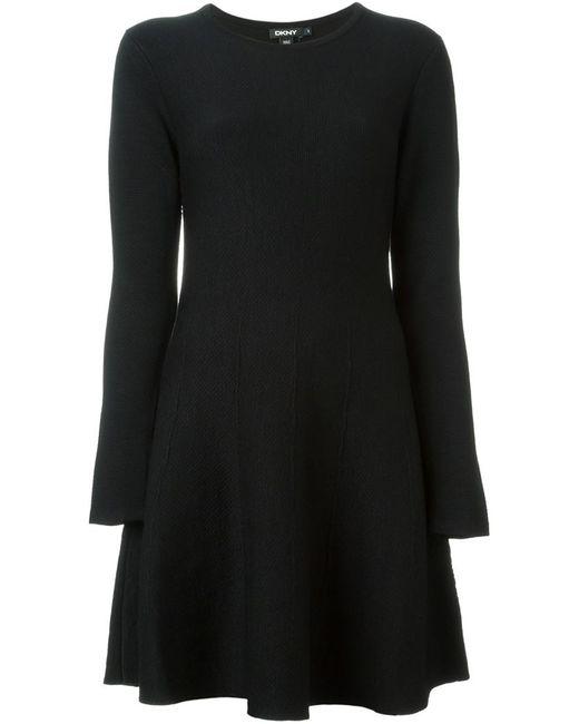 DKNY | Женское Чёрное Расклешенное Платье Tussah