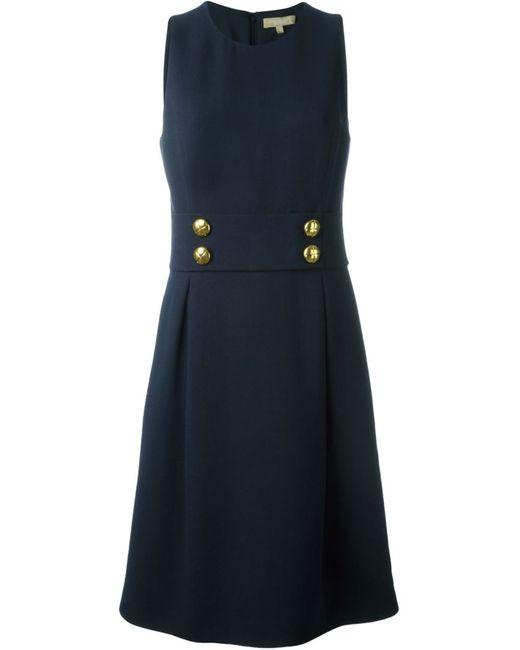 Michael Kors | Женское Синее Платье Без Рукавов Декорированное Пуговицами