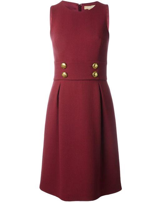 Michael Kors | Женское Красное Платье Без Рукавов С Декоративными Пуговицами