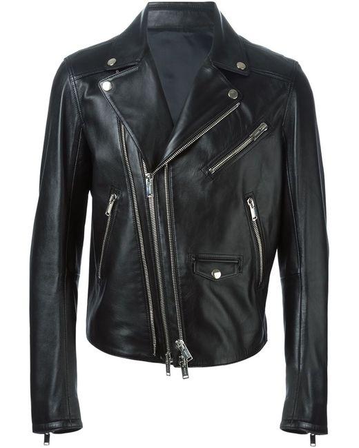 Les Hommes   Мужская Чёрная Байкерская Куртка