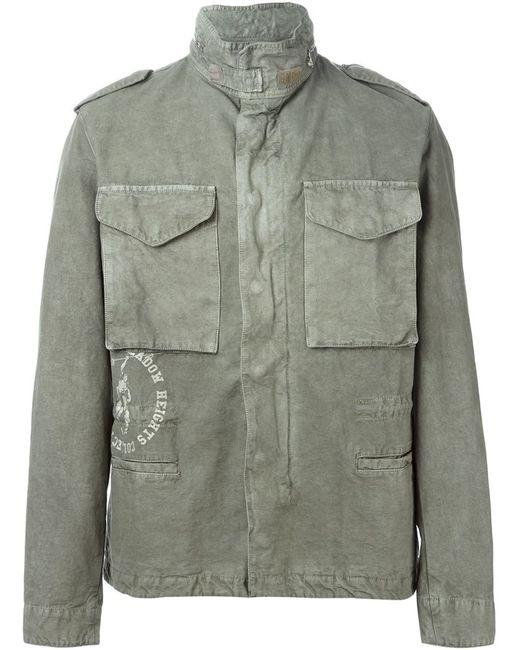 OFF-WHITE | Мужское Зелёный Funnel Neck Military Jacket