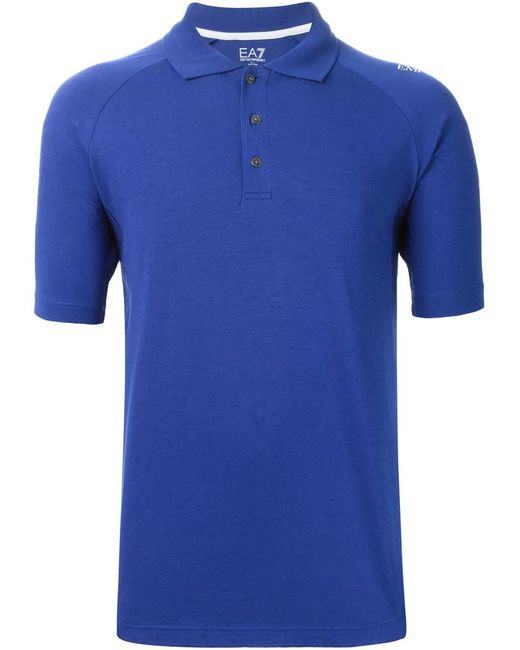 Emporio Armani | Мужская Синяя Футболка-Поло С Принтом Логотипа