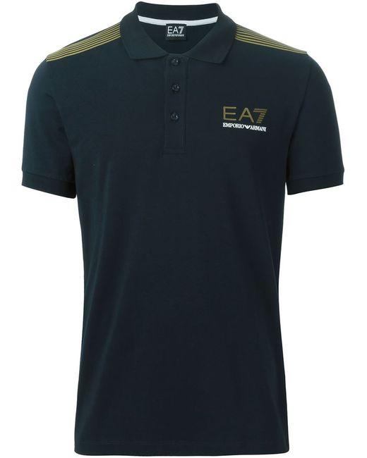 EA7 | Мужская Синяя Футболка-Поло С Полосками На Плечах