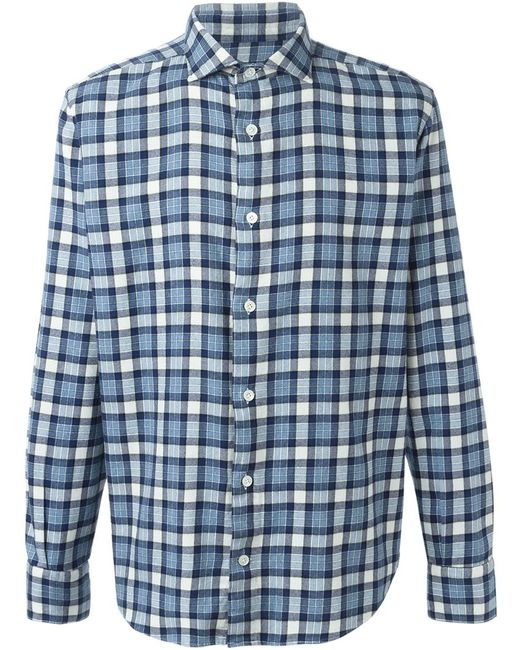 Eleventy | Мужское Синий Checked Shirt