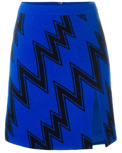 Christopher Kane | Женская Синяя Мини-Юбка С Зигзагообразным Принтом