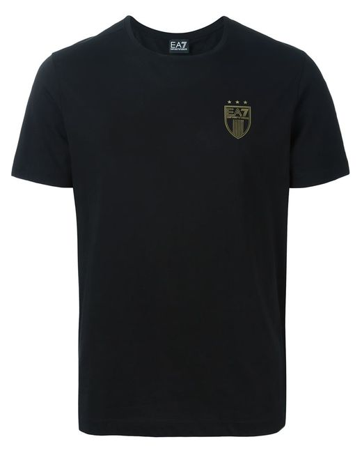 EA7 | Мужская Чёрная Футболка С Принтом Логотипа