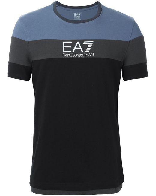EA7 | Мужская Чёрная Футболка Колор-Блок