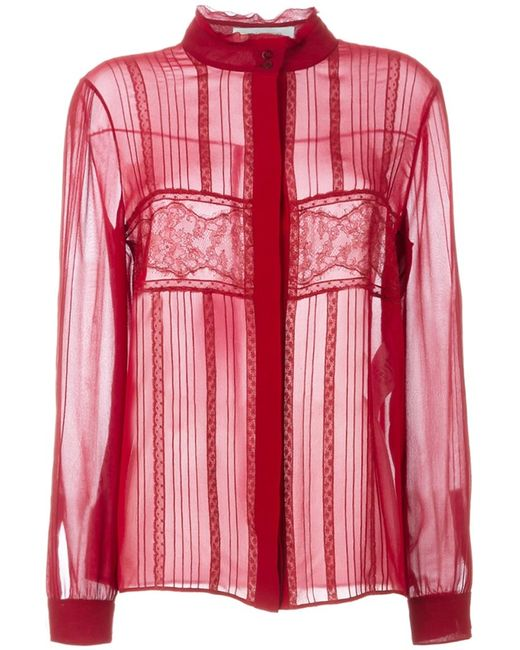 Valentino   Женское Красный Lace Panel Blouse