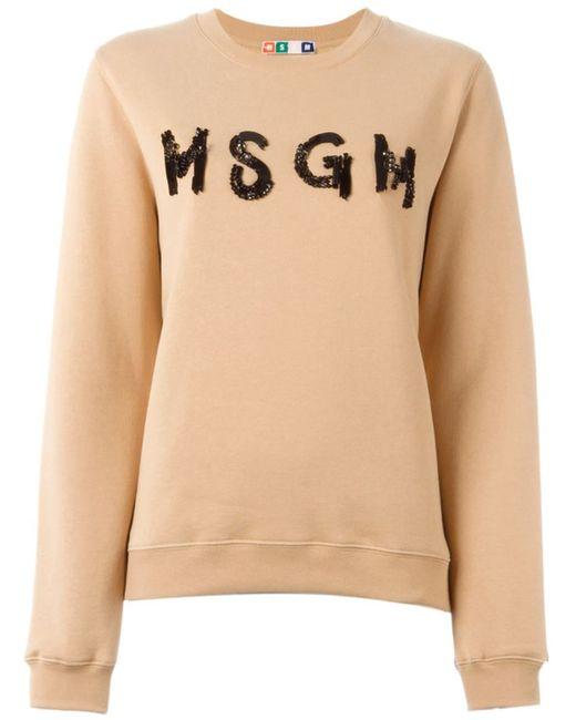 MSGM | Женское Nude & Neutrals Embellished Logo Sweatshirt