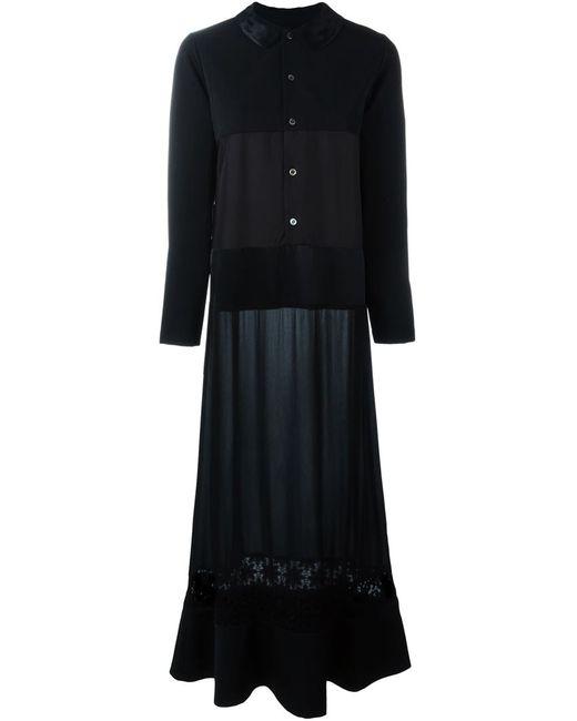 Comme Des Garcons | Женское Чёрное Удлиненное Платье-Рубашка
