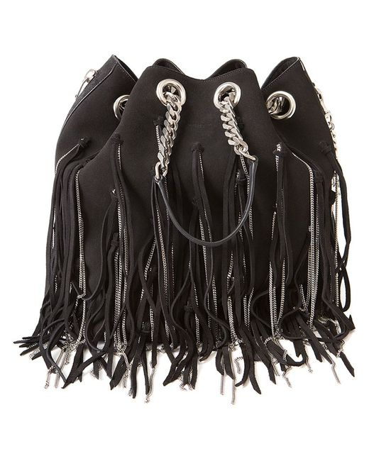 Saint Laurent   Женское Чёрный Fringed Chain Bucket Shoulder Bag