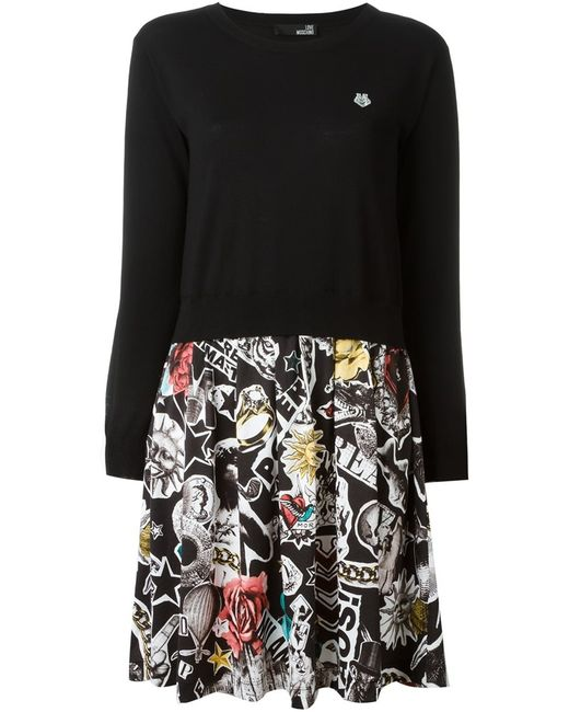Love Moschino | Женское Чёрное Платье-Свитер С Принтом На Юбке