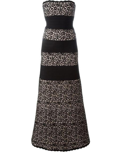 Hervé Léger | Женское Чёрное Вечернее Жаккардовое Платье Без Бретелек