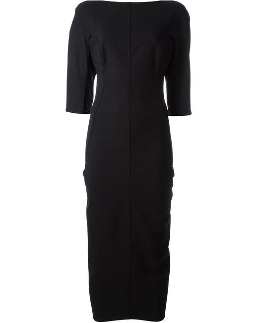 Rick Owens | Женское Чёрное Приталенное Платье С Вырезом-Лодочкой