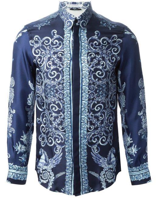 Versace Collection   Мужская Синяя Рубашка С Узором Барокко