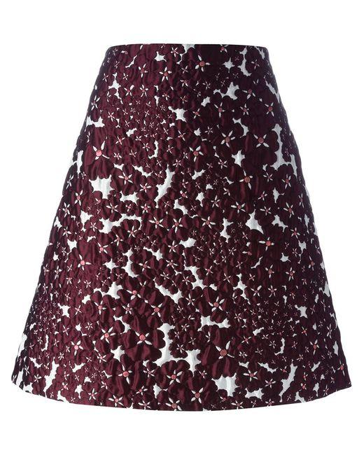 GIAMBA | Женское Красный Flower Brocade A-Line Skirt