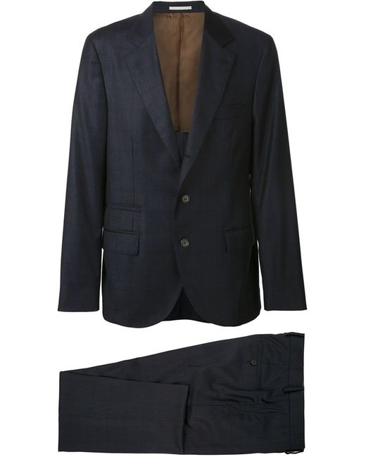 Brunello Cucinelli | Мужское Синий Checked Two-Piece Suit