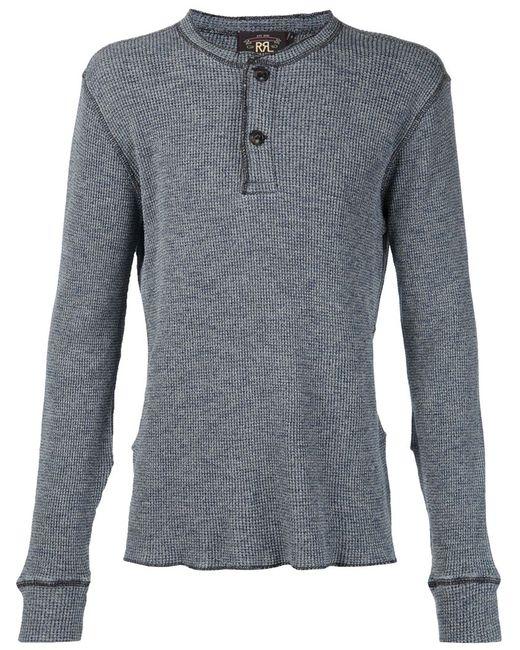 RRL | Мужское Синий Henley Long Sleeve T-Shirt