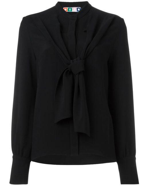 MSGM   Женская Чёрная Блузка С Завязками