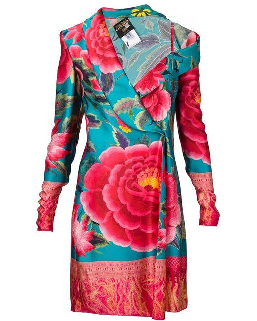 JEAN PAUL GAULTIER VINTAGE   Женское Зелёное Асимметричное Платье С Цветочным Принтом