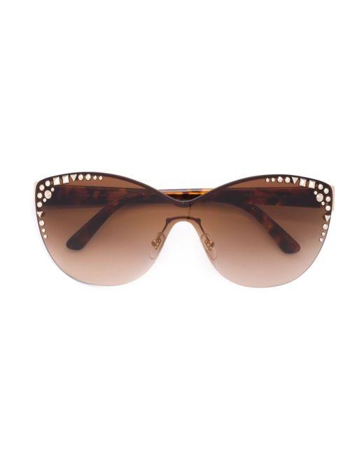 Versace | Женские Чёрные Солнцезащитные Очки С Заклепками
