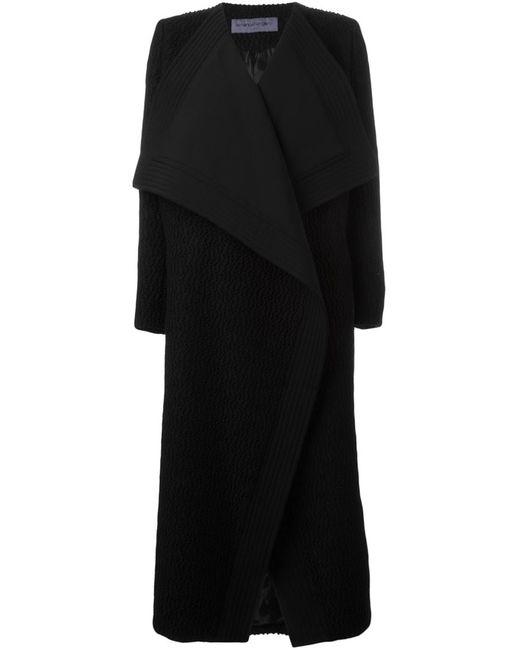 Emanuel Ungaro | Женское Чёрное Пальто Средней Длины С Объемными Лацканами