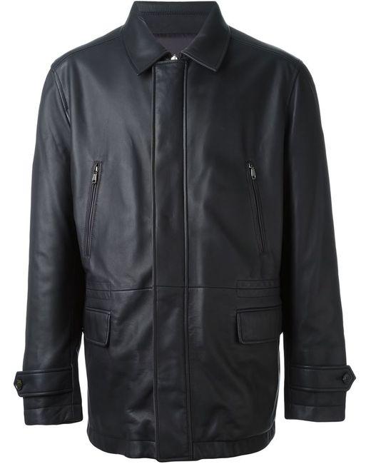 Brioni | Мужская Коричневая Классическая Кожаная Куртка