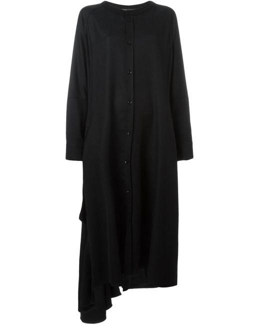 Yohji Yamamoto   Женское Чёрное Свободное Платье-Рубашка С Оборкой