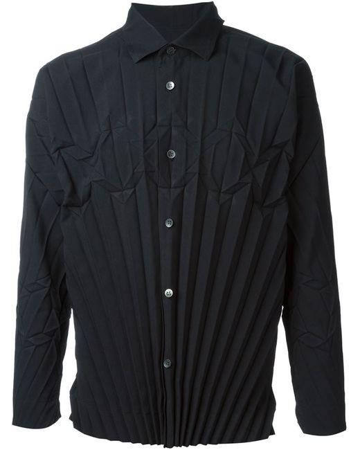 Issey Miyake   Мужская Чёрная Плиссированная Рубашка