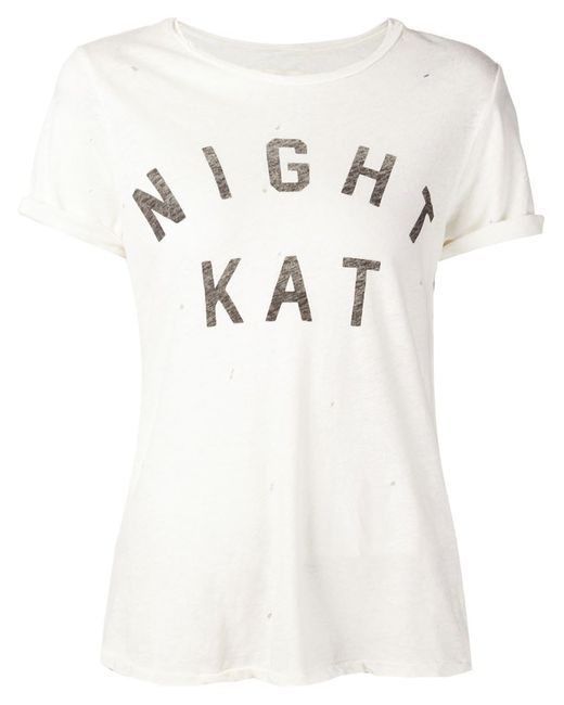 Current/Elliott   Женское Белый Night Kat Print T-Shirt