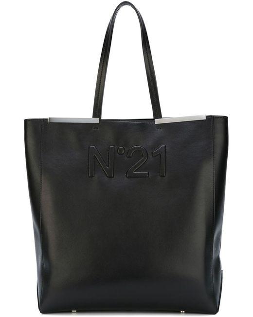 No21 | Женская Чёрная Сумка-Шоппер С Тиснением Логотипа