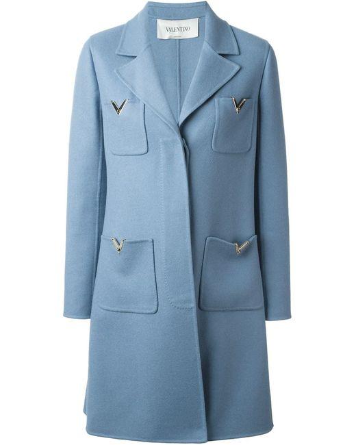 Valentino | Женское Синее Пальто Rockstud