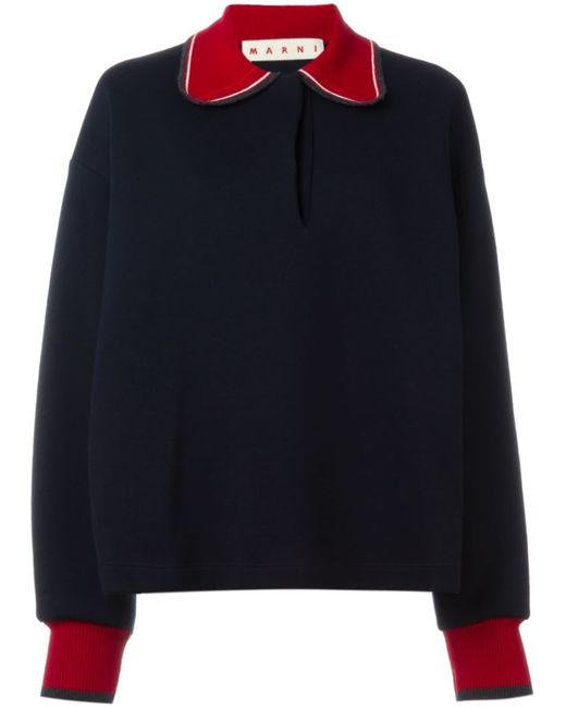 Marni | Женское Синий Contrasted Collar And Cuff Sweater