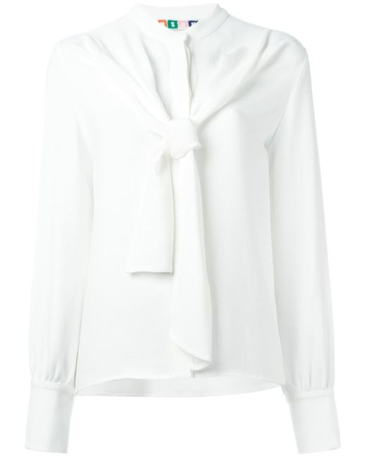 MSGM   Женская Белая Блузка С Завязкой На Бант