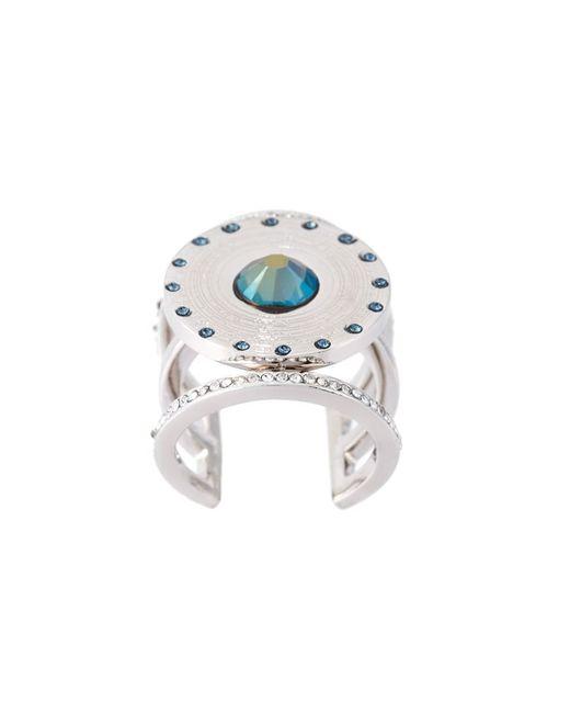 LEDA OTTO | Женское Серебристый Central Pyramid Stone Adjustable Ring